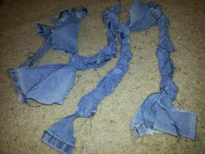 Recycled denim dog toy. Great idea for Daisy animal journey or for scout service project for an animal shelter.