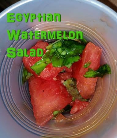 Egyptian Watermelon Salad for summer enjoyment or Junior Girl Scout Playing the Past or Simple Meals badges.