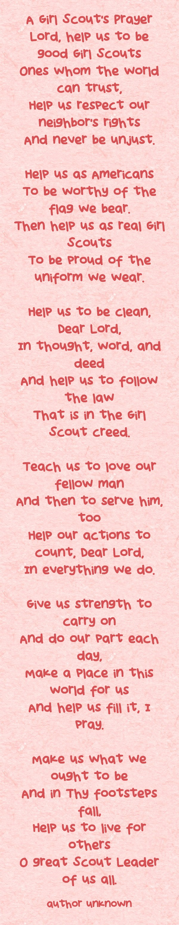 A Girl Scouts' Prayer – Use Resources Wisely
