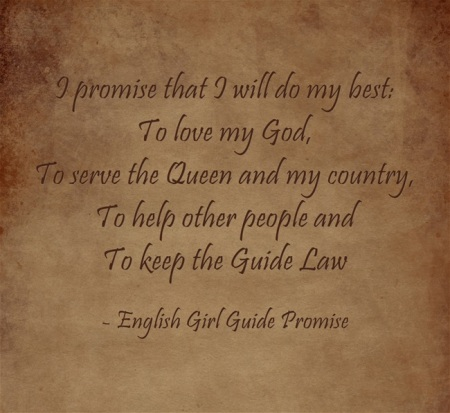 Girl Guide Promise | England | United Kingdom | Girl Scouts World Thinking Day