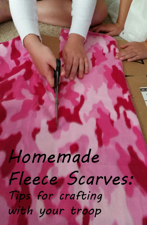 DIY no-sew fleece scarf. Easy service project for Girl Scouts.