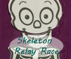 Easy, cheap Halloween game for school party or troop outing: Bag of Bones relay race.
