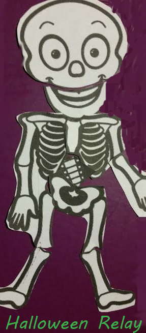 Skeleton relay race for Halloween classroom party or troop event