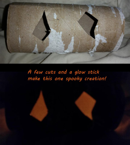 Recycle a toilet paper roll into a spooky Halloween craft,