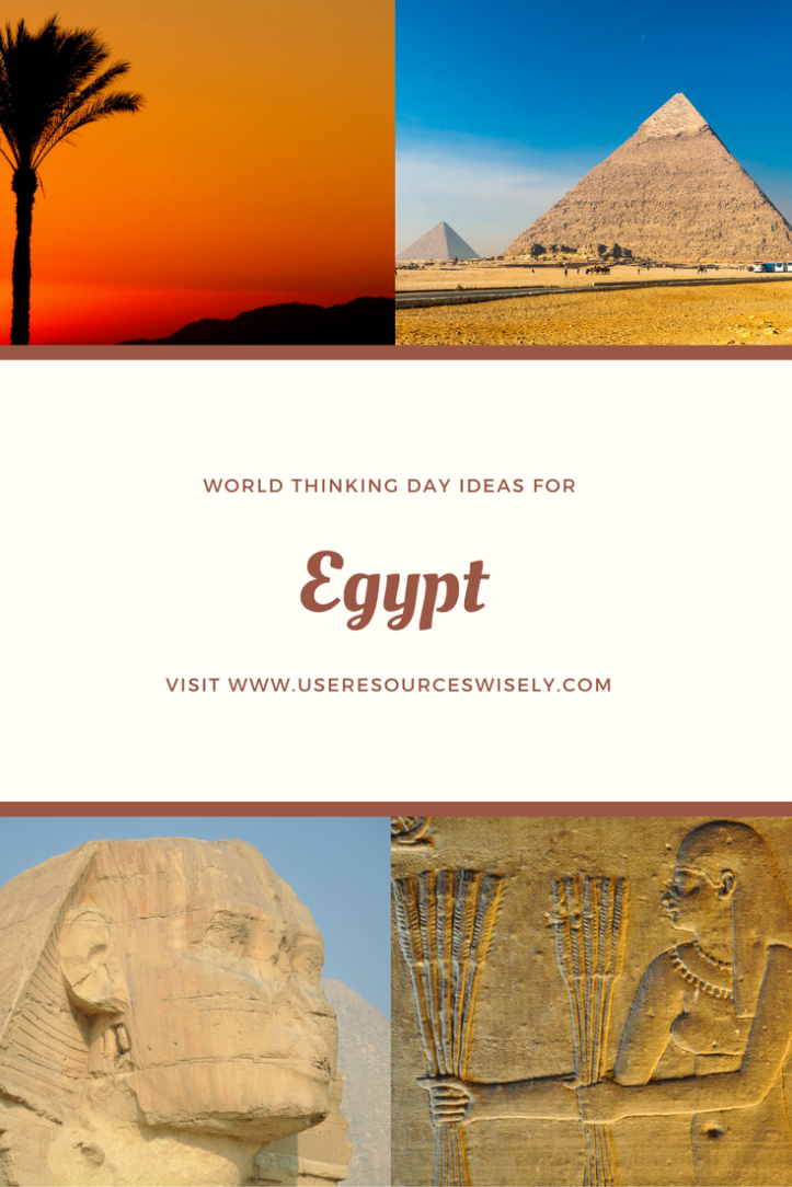 #GirlScout and #GirlGuide ideas for #ThinkingDay. Learn about #Egypt. Games, crafts, recipes and activities for kids