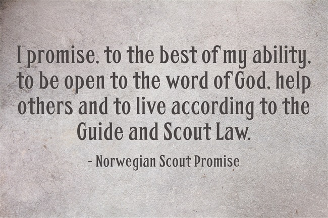 Norwegian scout promise - world thinking day - norway