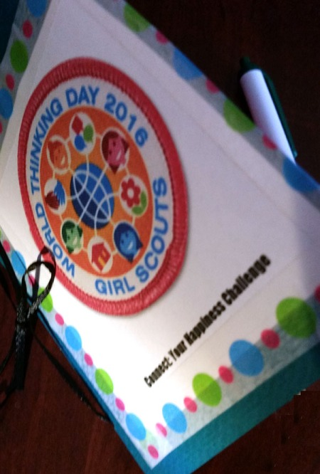 Happiness Challenge Journal for Girl Scout World Thinking Day. 2016 theme is Connect. Meets requirements for Daisies, Brownies and Juniors for the Thinking Day award.