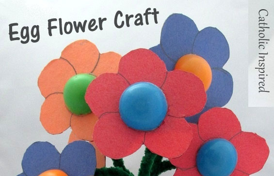Egg Flower Craft for Daisy Girl Scouts - Photo courtesy of Catholic Inspired
