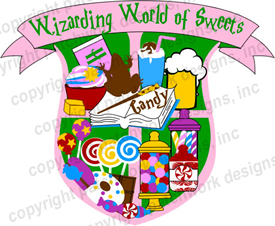 Harry Potter themed Wizarding World of Sweets fun patch from Patchwork designs