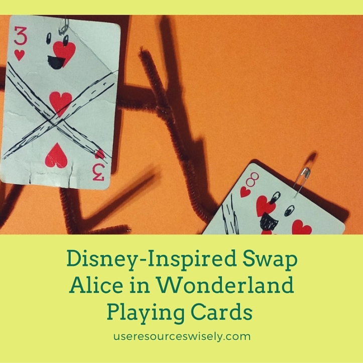 Simple Disney-inspired SWAP for Girl Scouts: Alice in Wonderland Playing Cards Swap