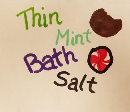 Thin Mint Girl Scout cookie inspired bath salts! Easy troop project