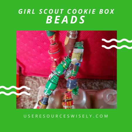 How to make beads out of Girl Scout cookie boxes. #girlscoutcookies