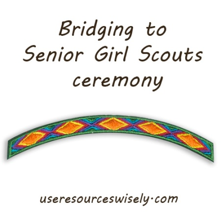 Girl Scouts bridging to senior girl scouts ceremony