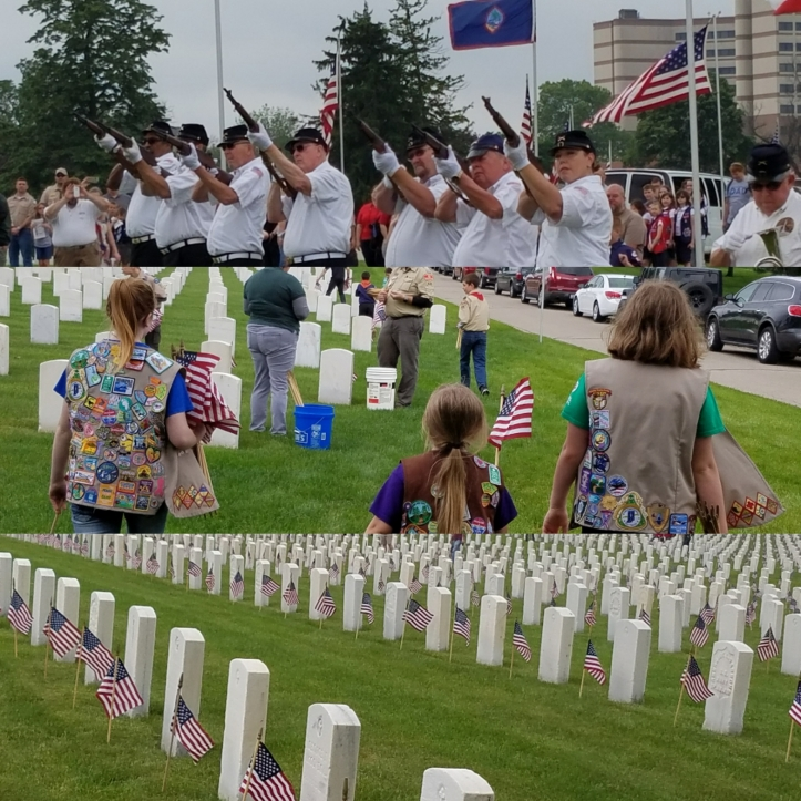 annual grave decorating and flag placement at Dayton National Cemetery