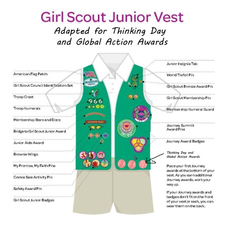 Where to put the World Thinking Day and Global Action Awards on a Junior Girl Scout vest
