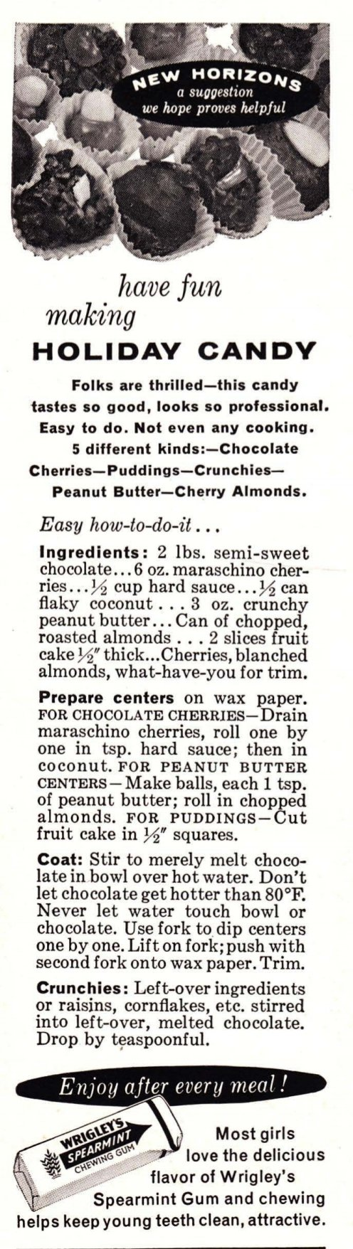 Christmas candy 5 ways. A holiday recipe from the 1950s.